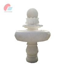 White Marble Rolling Sphere Fountain with Flower