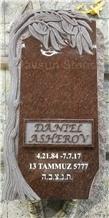 Tree Trunk Cat Eye Granite Headstone Tombstone