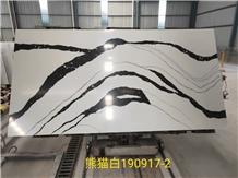 Engineered Panda White Quartz Slab Tile for Bath