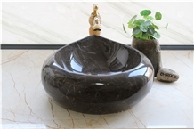 Mousse Marble Washbasin,Brown Gold Marble Sinks