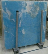 Azur Blue Onyx Polished Slab for Countertop
