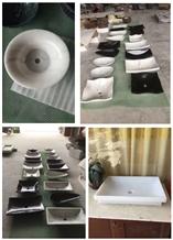 Black Marquina Marble Bath Vessel Sink Wash Basin