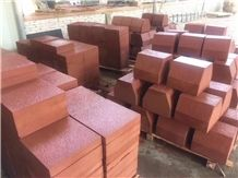 China Red Sandstone Pavers with Veins Bushhammered