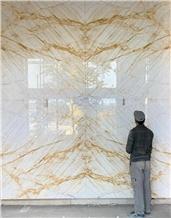 Gold White Marble, Crystalline Golden Veins Tiles