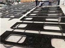 Marron Cohiba Angola Black Granite Kitchen Top