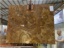 Sivas Honeytiger Onyx Vulcan Slabs Wall-Cladding