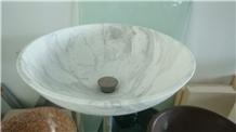 White Marble Stone Sink, Wash Bowls, Wash Basins