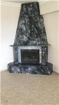 Black Agate / Grigio Pineta Marble Fireplace