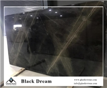 Black Dream Marble Slabs, Black Marble with Golden Veins