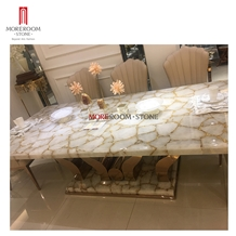 White Quartz Gold Marble Dining Table Set 6 Chair
