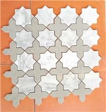 White Mosaic,Natural Marble Mosaic,Pattern Mosaic
