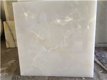 Titanium White Onyx Slabs & Tiles