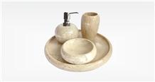 Java Cream Marble Set Bathroom Accessories