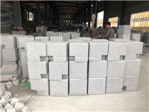 Grey and Black Granite Stone Car Packing Boallards