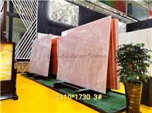 Pure Pink Onyx Onice Rosa Slabs Opus Romano Wall