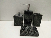 Black Marble Bath Accessories Hotel Sets