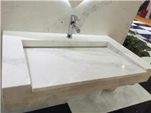 Calacatte White Quartz for Bathroom Sinks Ms7004