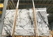 Luxury Grey Veins Cobalt Flash White Marble Slab