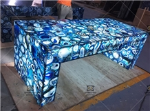 Translucent Backlit Blue Agate Bar Countertop