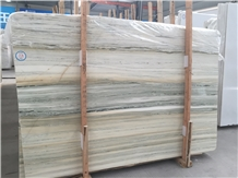 China Ocean Blue Wooden Vein Marble Slab