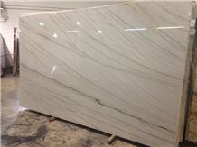White Macaubas Quartzite Slab, Brazil Luxury Stone