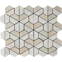 Seagrass Textured 3d Hexagon Marble Mosaic