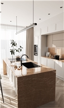 Kozo Brown Marble Kitchen Island Countertop, Splashwall