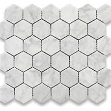 Bianco Carrara Marble Hexagon Mosaic Tiles