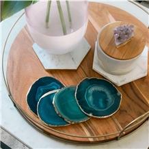 Blue Semiprecious Stone / Gemstone Cup Tray / Plates for Coffee
