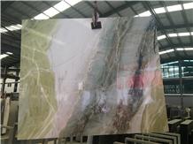 Dream Green Marble Slab / Glossy Fantasy Ocean Sky Marble Wall Tile