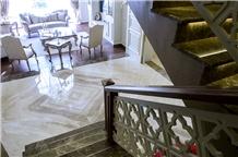Queen Beige Marble Bookmatch Flooring Tile