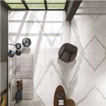 Artificial Nano Glass Stone Floor Tile / Calacatta White Artifcial Stone