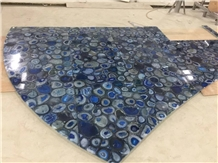Backlit Blue Agate Semiprecious Stone Countertop