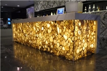 Backlit Brown Irregular Agate Stone Reception Desk / Countertop Table