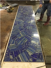 Blue Lapis Lazuli Agate Stone Bar Countertop,Commercial Backlit Reception Counter Top