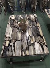 Brown Wooden Agate Stone Interior Table Top,Stone Furniture Interior Design