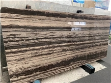 Coffee Brown Wooden Vein Tiny Gold Marble Slab