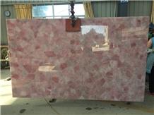 Crystal Pink Semiprecious Stone Slab Translucent