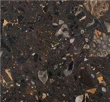 Dark Brown Quartz Artificial Stone for Kitchen