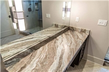 Fantasy Brown Marble Prefab Bathtop,Vanity Top