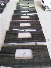 Galaxy Green Wave Granite Prefab Apartment Vanity Top