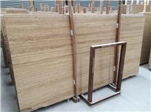 Iran Coffee Brown Wooden Vein Cut Travertine Slab,Pattern Tile