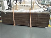 Obama Brown Wood Grain Marble Slab, Tile