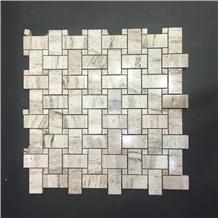 Palissandro Brown Marble Basketweave Mosaic Wall Panel Tile