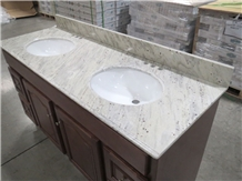 River White Valley Granite Hotel Bathroom Vanity Top Double Sinks