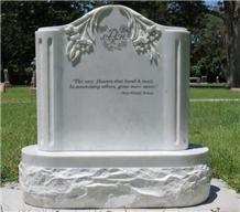 Thassos White Marble Engraved Tombstone /Gravestone