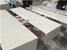 White Carrara Quartz Stone Commercial Bar Countertop