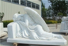 White Marble Mourning Engraved Angel Tombstone