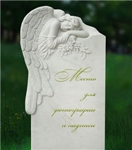 White Marble Weeping Angel Engraved Tombstone / Gravestone