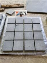 Black Basalt Cobblestone Mesh Backed Pavers